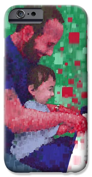Piano iPhone Cases - Father and Son Play Piano iPhone Case by Phil Vance