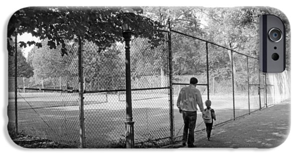 D.c. iPhone Cases - Father And Son Walking Past Tennis Courts iPhone Case by Cora Wandel