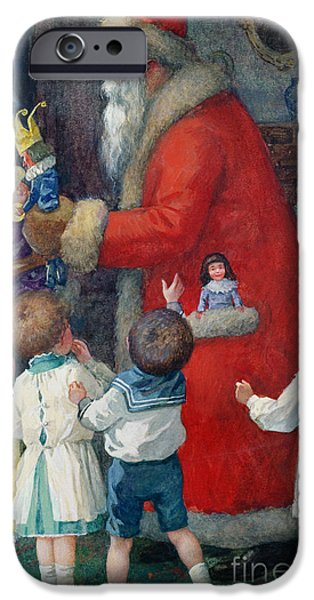 1879 iPhone Cases - Father Christmas with Children iPhone Case by Karl Roger