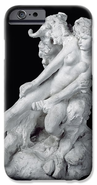 Figure Sculptures iPhone Cases - Faun and Nymph iPhone Case by Auguste Rodin