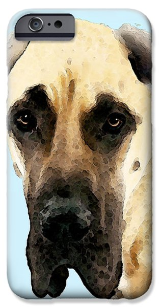 Buy Dog Art iPhone Cases - Fawn Great Dane Dog Art Painting iPhone Case by Sharon Cummings