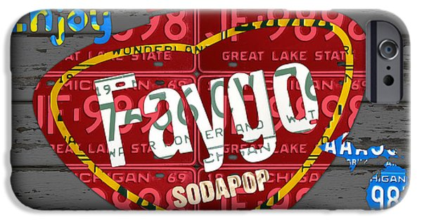 Barns Mixed Media iPhone Cases - Faygo Soda Pop Recycled Vintage Michigan License Plate Art on Gray Distressed Barn Wood iPhone Case by Design Turnpike