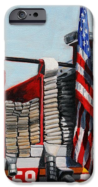American Flag Paintings iPhone Cases - FDNY ENGINE 59 American Flag iPhone Case by Paul Walsh