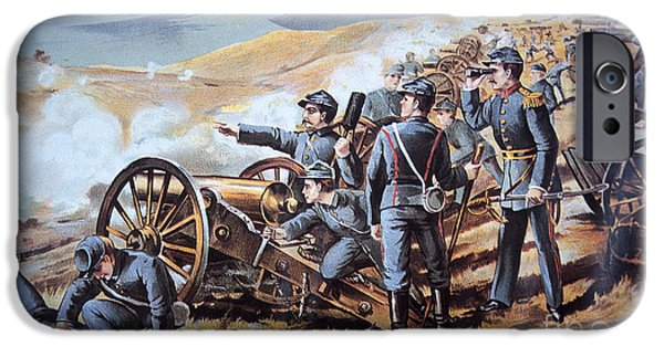 Yankees iPhone Cases - Federal field artillery in action during the American Civil War  iPhone Case by American School