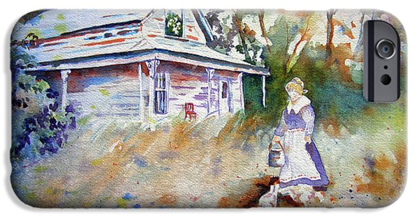 Shed Drawings iPhone Cases - Feeding Time iPhone Case by Mary Haley-Rocks