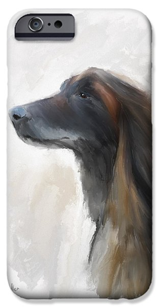 Afghan Hound Watercolor iPhone Cases - Feeling the Breeze iPhone Case by Diane Chandler