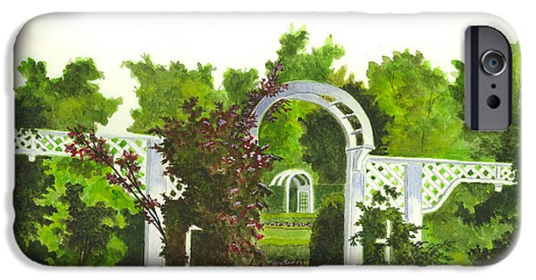 Garden Scene Paintings iPhone Cases - Fellows Riverside Gardens - Mill Creek Park iPhone Case by Michael Vigliotti