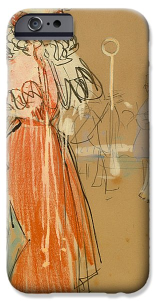 Police Drawings iPhone Cases - Female Figure In Red iPhone Case by Ramon Casas