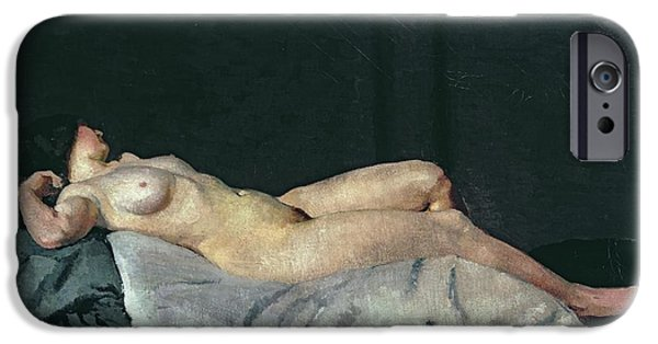Figure iPhone Cases - Female Figure Lying on Her Back iPhone Case by Dora Carrington