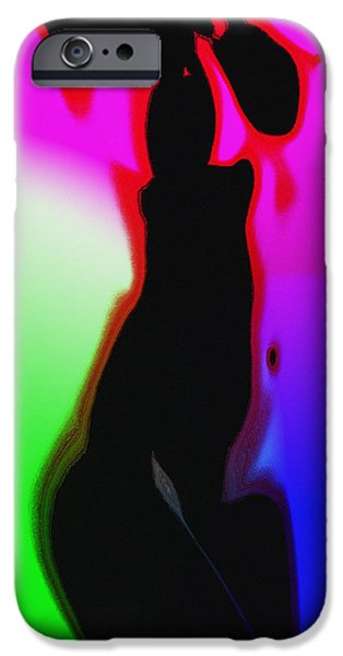 Balck Art iPhone Cases - Female in Color 2 iPhone Case by Stefan Kuhn