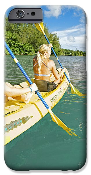 Youthful Photographs iPhone Cases - Female Kayakers iPhone Case by Kicka Witte - Printscapes