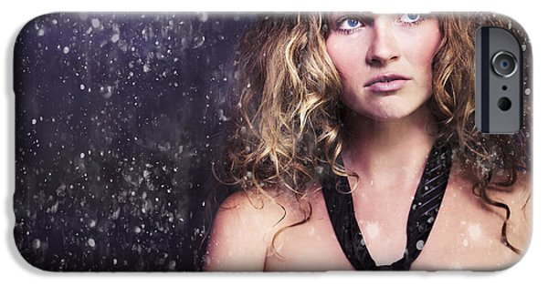 Youthful iPhone Cases - Female Moon Light Night Performer Acting In Rain iPhone Case by Ryan Jorgensen