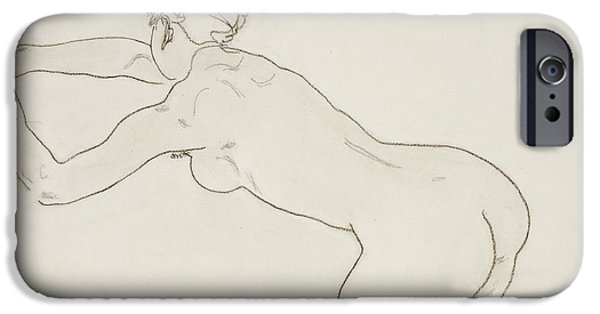 Figures iPhone Cases - Female Nude Kneeling and Bending Forward to the Left iPhone Case by Egon Schiele