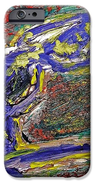 Female Washing Hair with Bold Primary Colors Textures and Expressionism  iPhone Case by MendyZ M Zimmerman