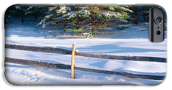 New England Snow Scene Photographs iPhone Cases - Fence And Snow In Winter, Vermont iPhone Case by Panoramic Images