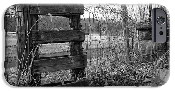 Cemetary iPhone Cases - Fence BW iPhone Case by Monica Whaley