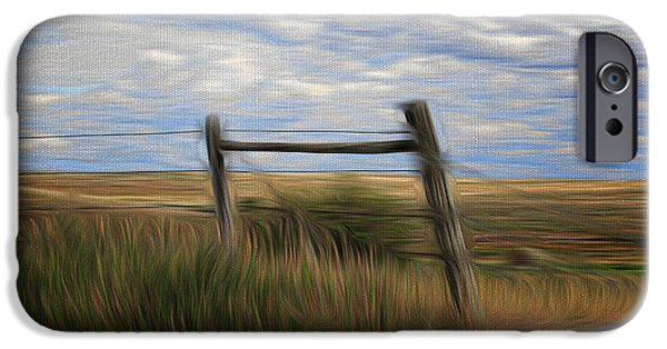 Field. Cloud iPhone Cases - Fence Post and Hills iPhone Case by Vickie Emms