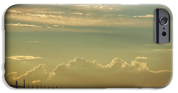 Field. Cloud iPhone Cases - Fence Post Sentinel iPhone Case by Janice Rae Pariza
