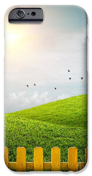 Green Lawns iPhone Cases - Fenced Grass Hills iPhone Case by Carlos Caetano