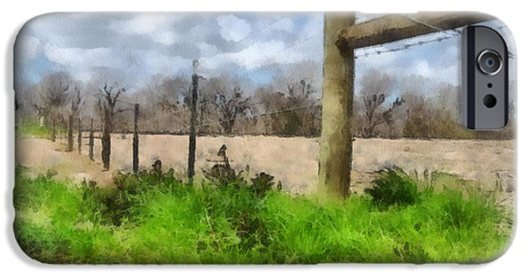 Tree Art Print iPhone Cases - Fenceline iPhone Case by Paulette B Wright