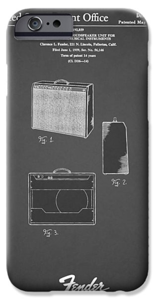 Guitar iPhone Cases - Fender Amp 1962 iPhone Case by Mark Rogan