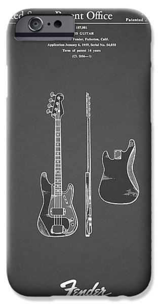 Fenders iPhone Cases - Fender Bass Guitar 1960 iPhone Case by Mark Rogan