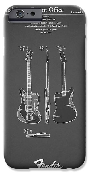 Guitar iPhone Cases - Fender Electric Guitar 1959 iPhone Case by Mark Rogan