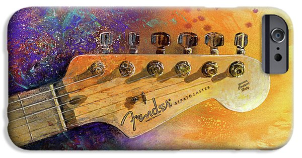 Watercolors Paintings iPhone Cases - Fender Head iPhone Case by Andrew King
