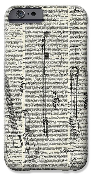 Great Tapestries - Textiles iPhone Cases - Fender telecaster guitar over dictionary page iPhone Case by Jacob Kuch