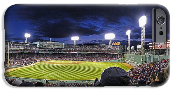Mounds iPhone Cases - Fenway Night iPhone Case by Rick Berk