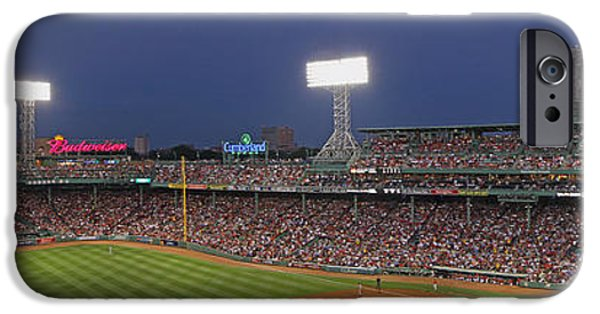 Fenway Park iPhone Cases - Fenway Park and Boston Skyline iPhone Case by Juergen Roth