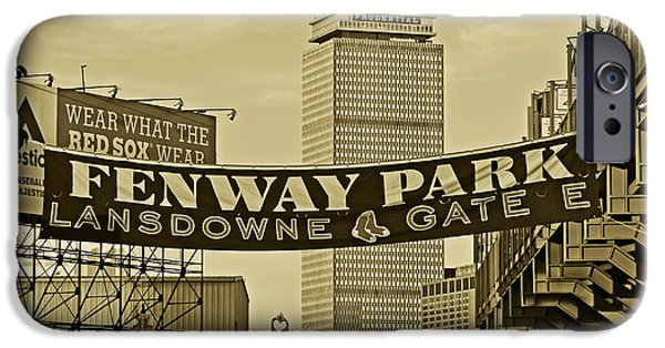 Boston Ma iPhone Cases - Fenway Park Banners Boston MA Sepia iPhone Case by Toby McGuire