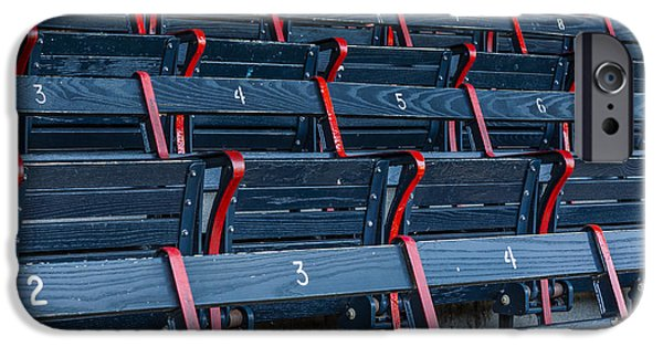 Red Sox iPhone Cases - Fenway Park Blue Bleachers iPhone Case by Susan Candelario