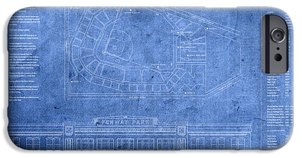 Boston Red Sox iPhone Cases - Fenway Park Blueprints Home of Baseball Team Boston Red Sox on Worn Parchment iPhone Case by Design Turnpike