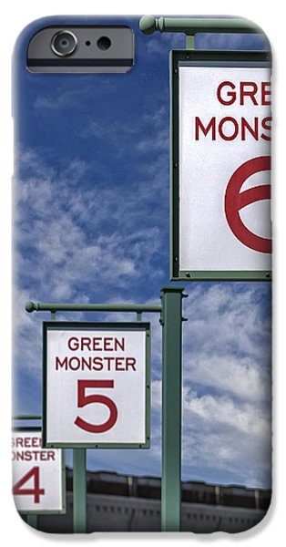 Red Sox iPhone Cases - Fenway Park Green Monster Section Signs iPhone Case by Susan Candelario