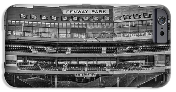 Red Sox iPhone Cases - Fenway Park Interior BW iPhone Case by Susan Candelario
