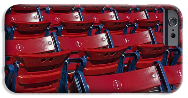 Red Sox iPhone Cases - Fenway Park Red Bleachers iPhone Case by Susan Candelario