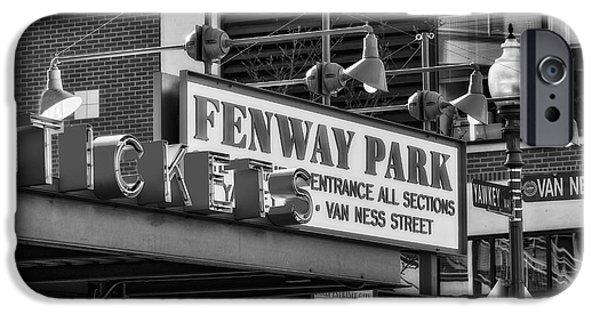 Red Sox iPhone Cases - Fenway Park Tickets BW iPhone Case by Susan Candelario