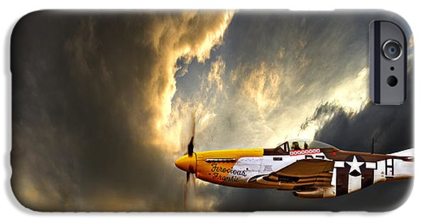 P-51 Mustang iPhone Cases - Ferocious Frankie iPhone Case by Meirion Matthias