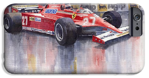 Racing Paintings iPhone Cases - Ferrari 126C 1981 Monte Carlo GP Gilles Villeneuve iPhone Case by Yuriy  Shevchuk