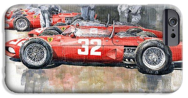 Racingcars iPhone Cases - Ferrari 156 Italian GP 1961 iPhone Case by Yuriy  Shevchuk