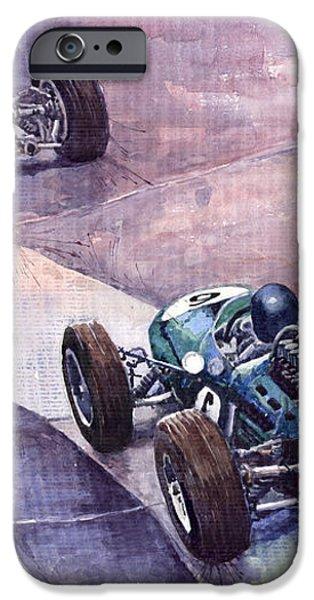 Ferrari 158 vs Brabham Climax German GP 1964 iPhone Case by Yuriy  Shevchuk