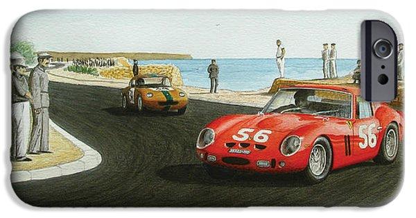 Ferrari 250 Gto iPhone Cases - Ferrari 250 GTO at Cascais Circuit 1964 iPhone Case by Joao Saldanha