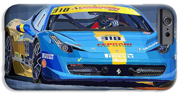 Racing Mixed Media iPhone Cases - Ferrari 458 Challenge Team Ukraine 2012 variant iPhone Case by Yuriy Shevchuk