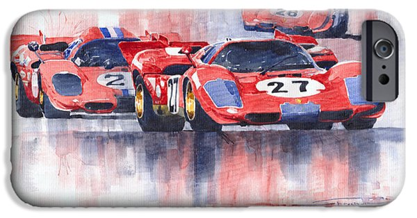 1970 iPhone Cases - Ferrari 512 S 1970 24 Hours of Daytona iPhone Case by Yuriy  Shevchuk