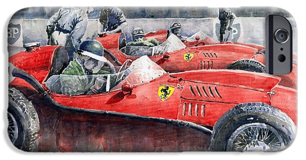 Sport Paintings iPhone Cases - Ferrari Dino 246 F1 1958 Mike Hawthorn French GP  iPhone Case by Yuriy  Shevchuk