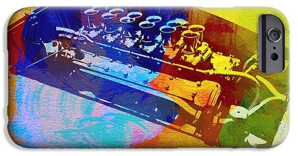 Events iPhone Cases - Ferrari Engine Watercolor iPhone Case by Naxart Studio