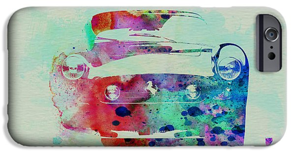 Vintage Car iPhone Cases - Ferrari Front Watercolor iPhone Case by Naxart Studio