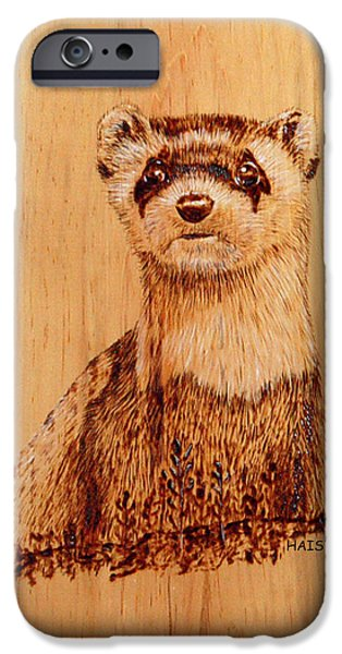 Wild Animals Pyrography iPhone Cases - Ferret iPhone Case by Ron Haist