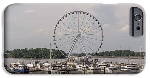 D.c. iPhone Cases - Ferris Wheel At National Harbor In Maryland iPhone Case by Pete Hendley